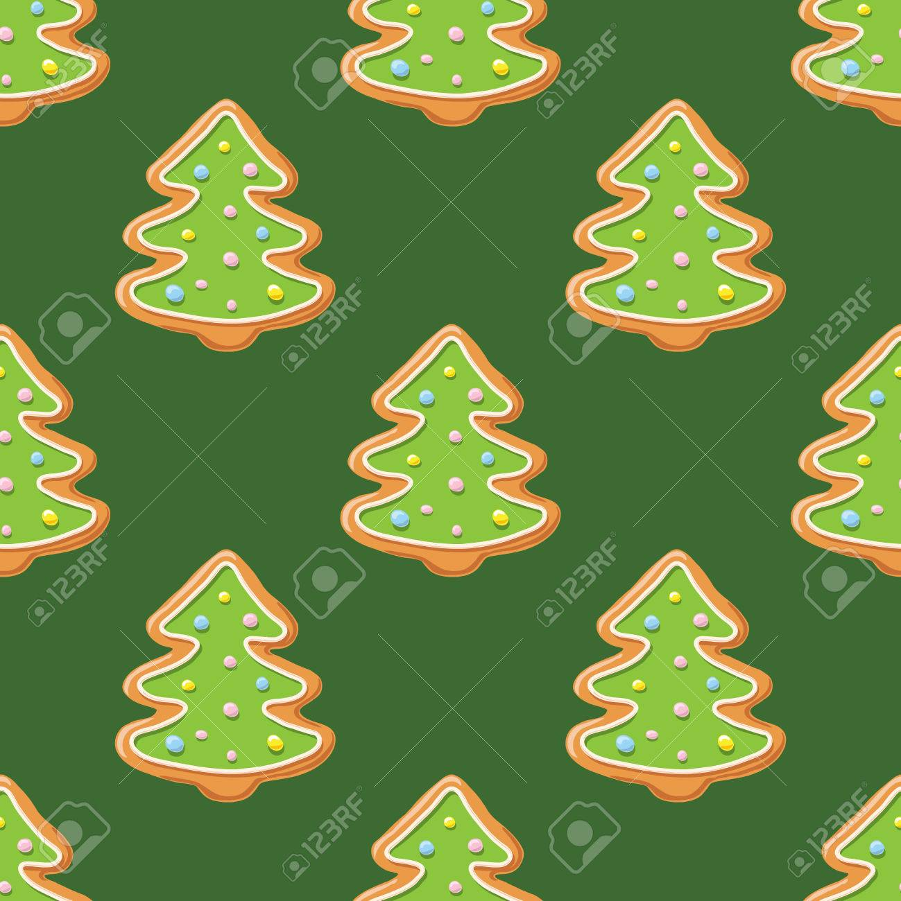 85121662 christmas gingerbread seamless pattern ginger cookies on green background vector illustration cute