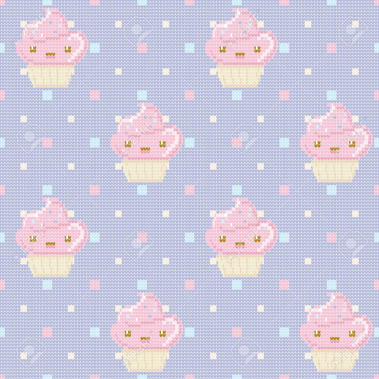 Punto De Patrones Sin Fisuras Con Cupcakes Sobre Fondo Morado ...