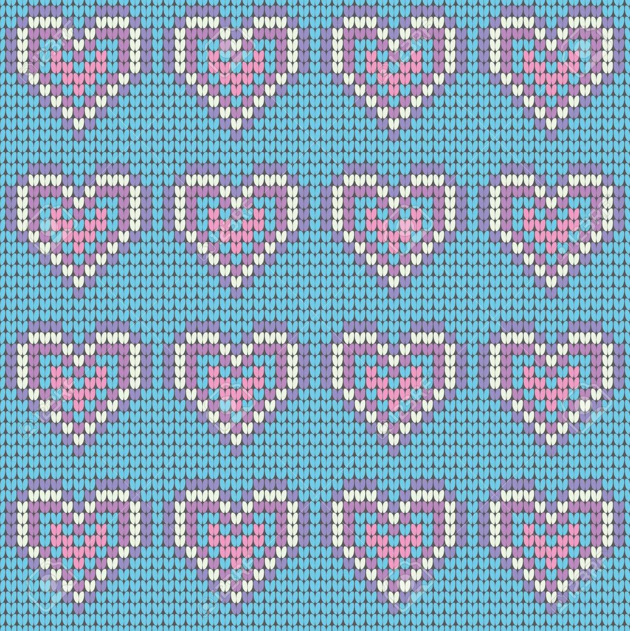 Valentines Day Love Heart Knitted Seamless Pattern. Textures ...