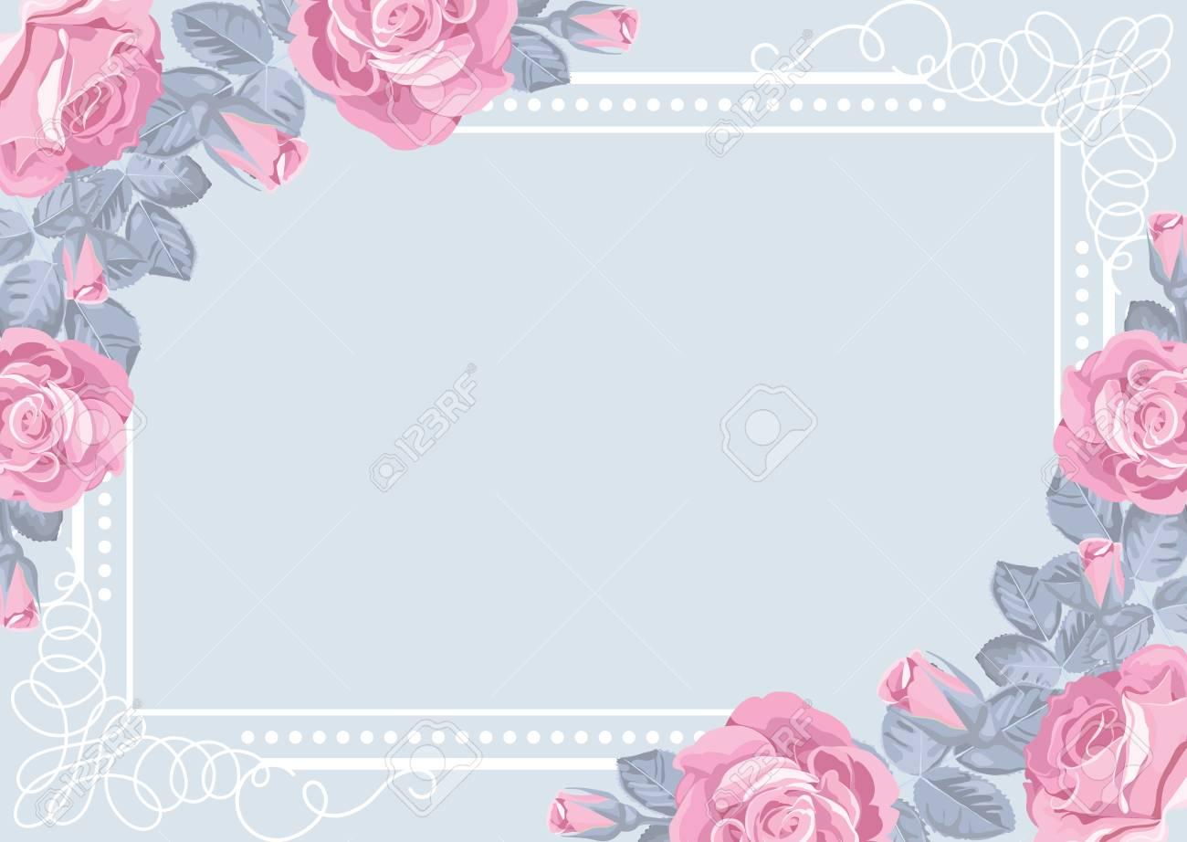 Plantilla De Tarjeta Floral Rosas Rosadas Con Marco. Tarjeta De ...