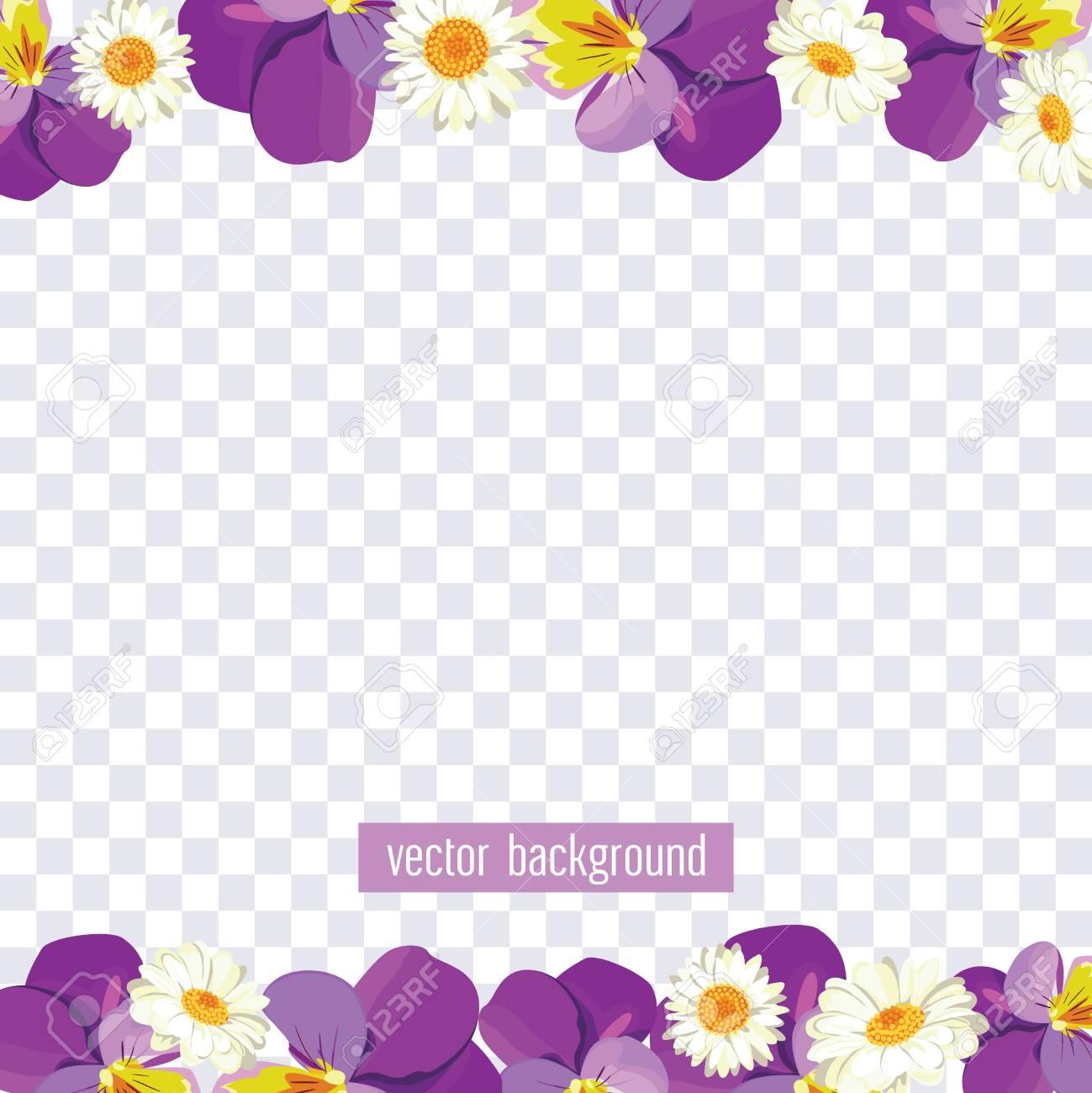 Floral Borders On Transparent Background Vector Illustration
