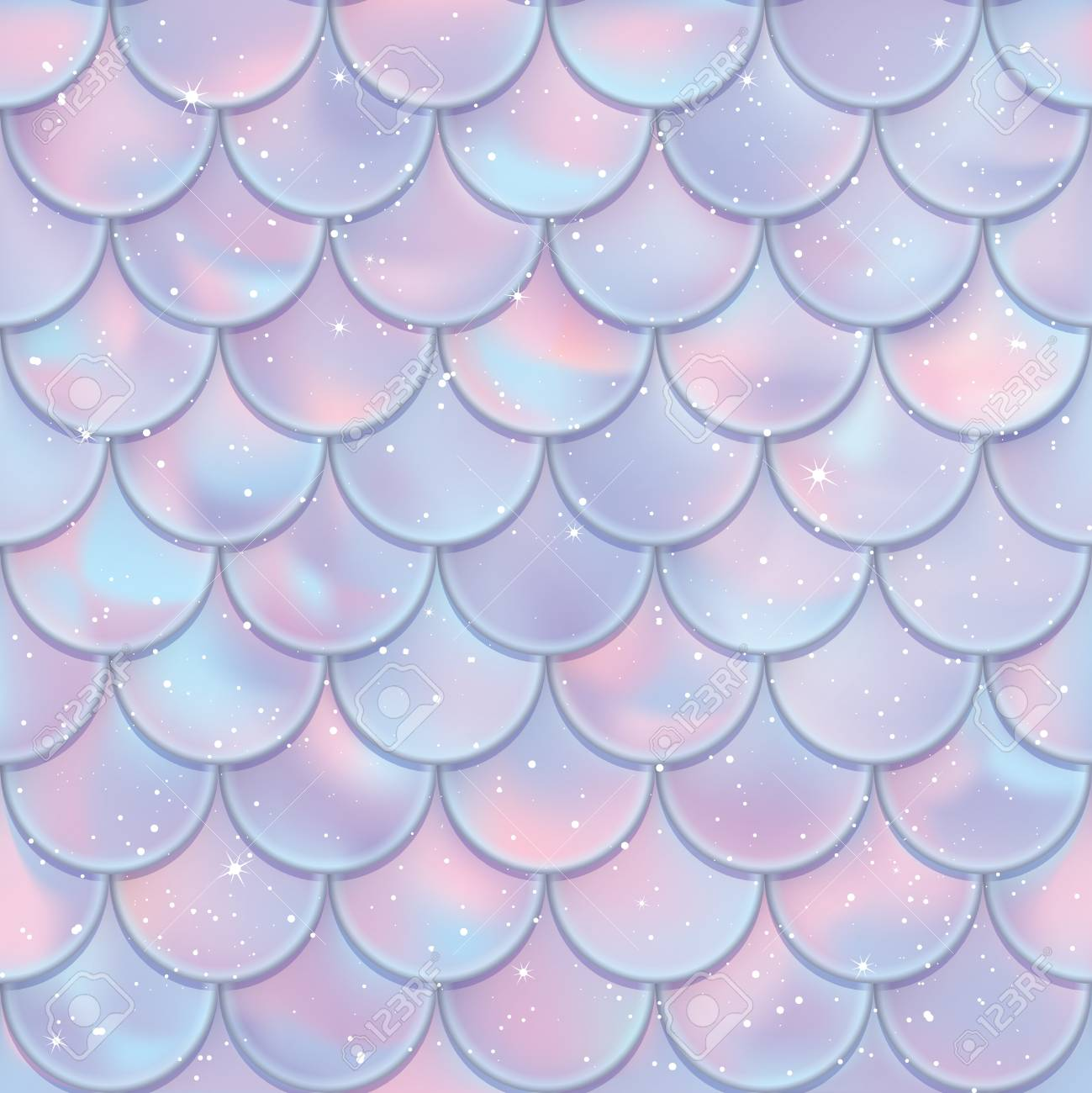Fish Scales Seamless Pattern Mermaid Tail Texture Vector Illustration Print Design For Textile