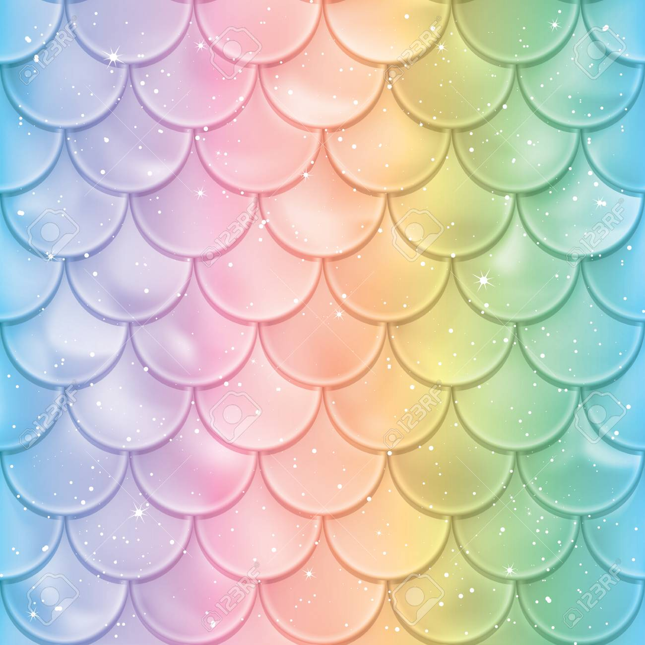 Fish Scales Seamless Pattern Mermaid Tail Texture In Spectrum Colors Vector Illustration Print