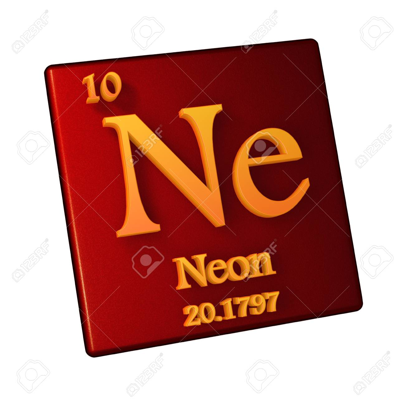 Illustration   Neon, Chemical Element Number 10 Of The Periodic Table Of  The Elements, 3d Illustration