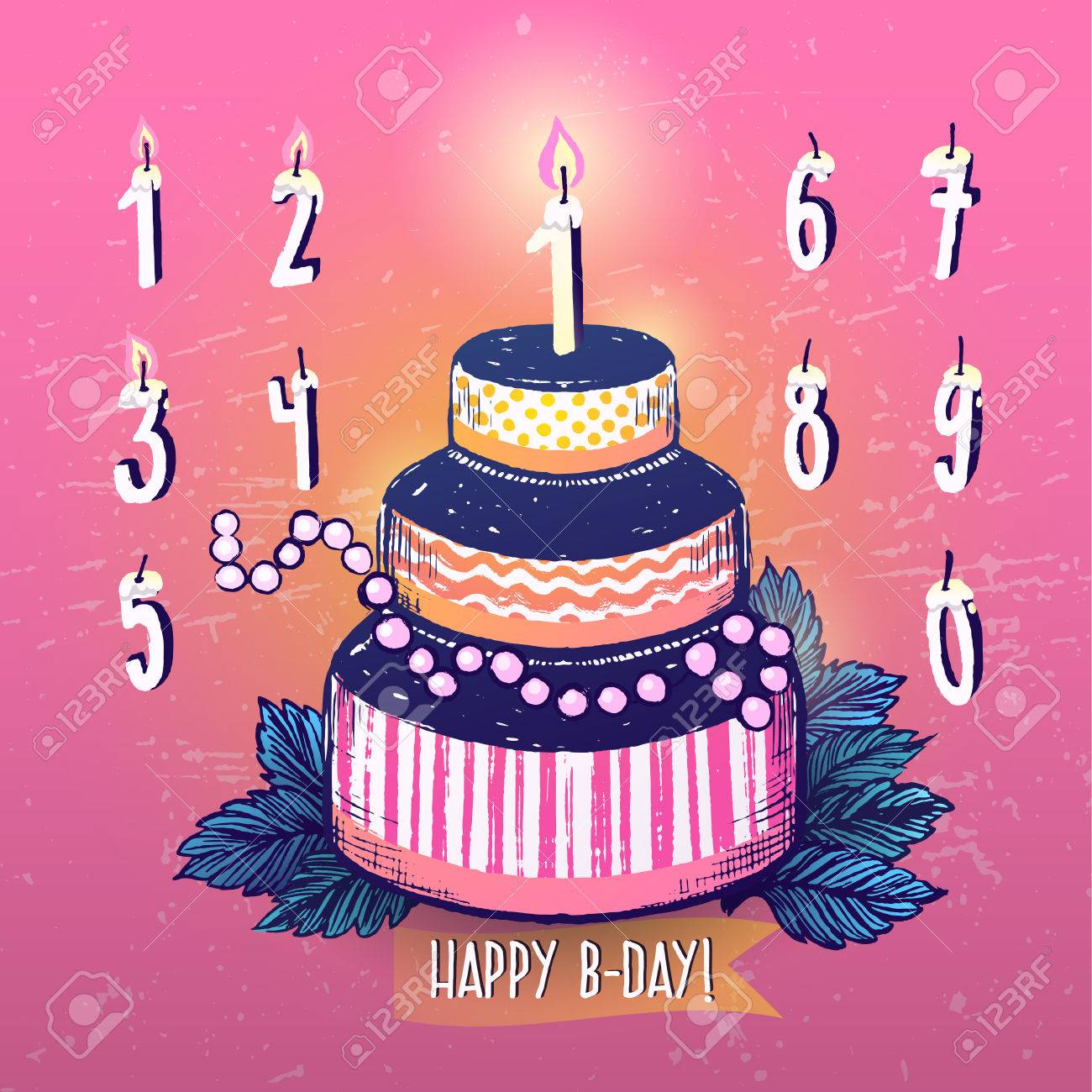 Ink Hand Drawn Happy Birthday Cake And Candles Numbers Set Royalty