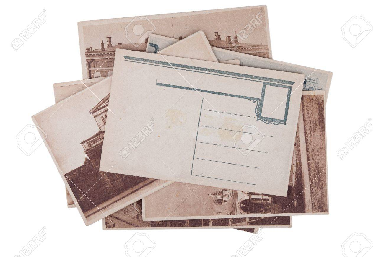 Pile of old postcards with copy space isolated on white background Stock Photo - 12756645