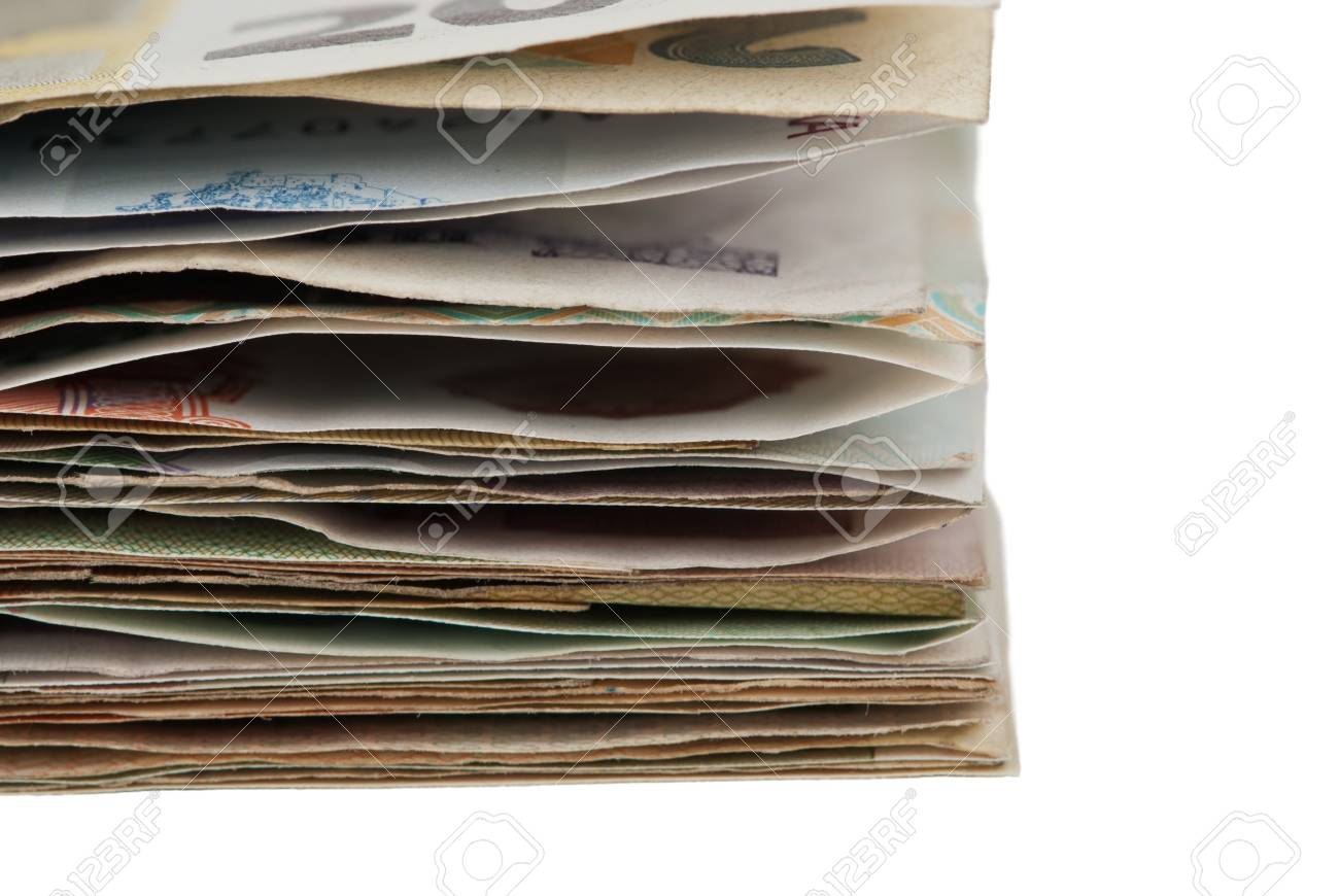 sheaf banknotes isolated on white background Stock Photo - 13357637