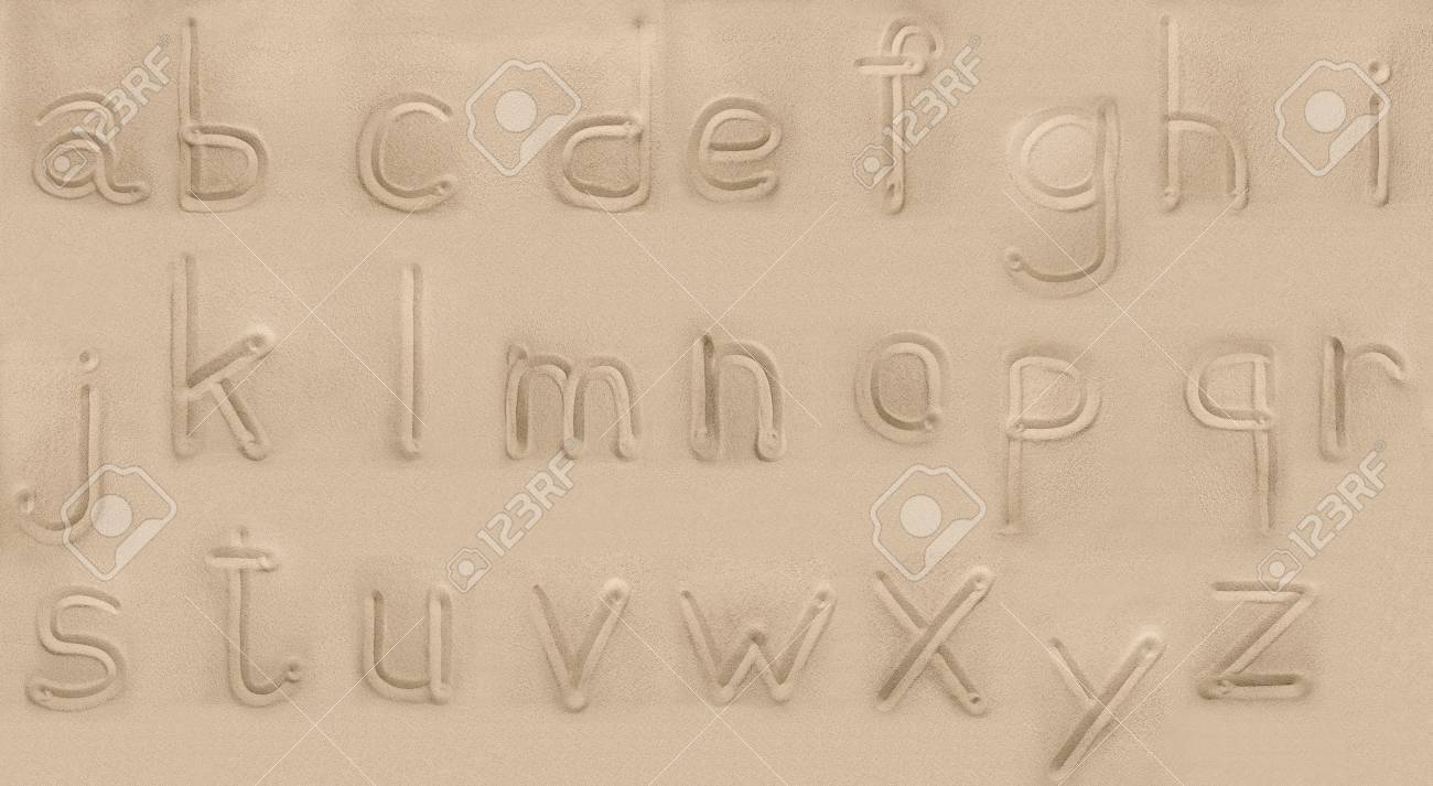 alphabet from sand  Small letters Stock Photo - 16912663