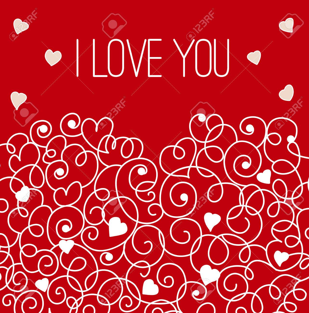 Greeting Card With Floral Heart Shape I Love You Sign Royalty Free