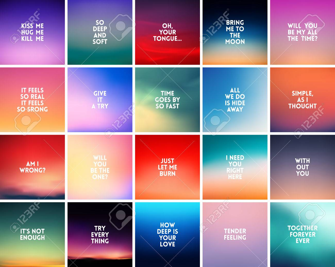 Big Set Of 20 Square Blurred Nature Backgrounds With Various