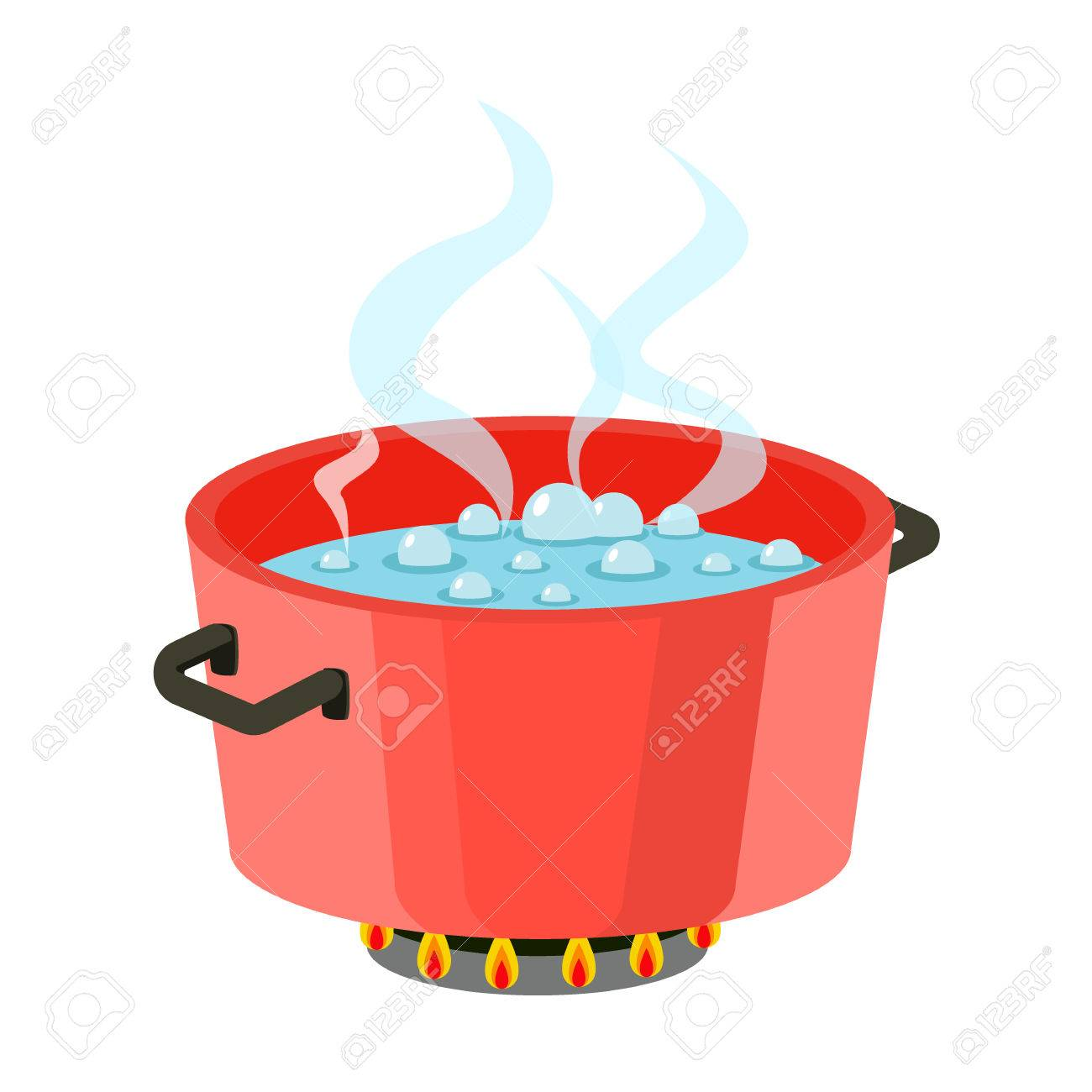 boiling water in pan red cooking pot on stove with water and rh 123rf com crawfish boiling pot clip art Crawfish Boiling Pot Clip Art