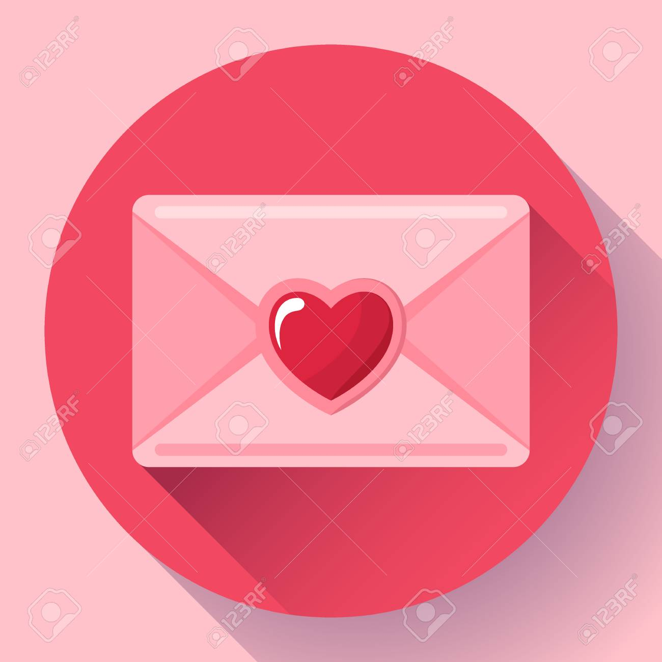 Envelope With Heart Pink Red Icon Happy Valentine Day Love Letter