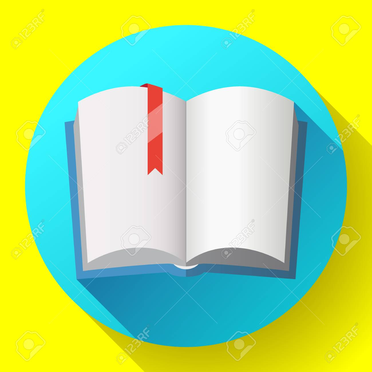 icon of open textbook with red bookmark. blank book with a blue