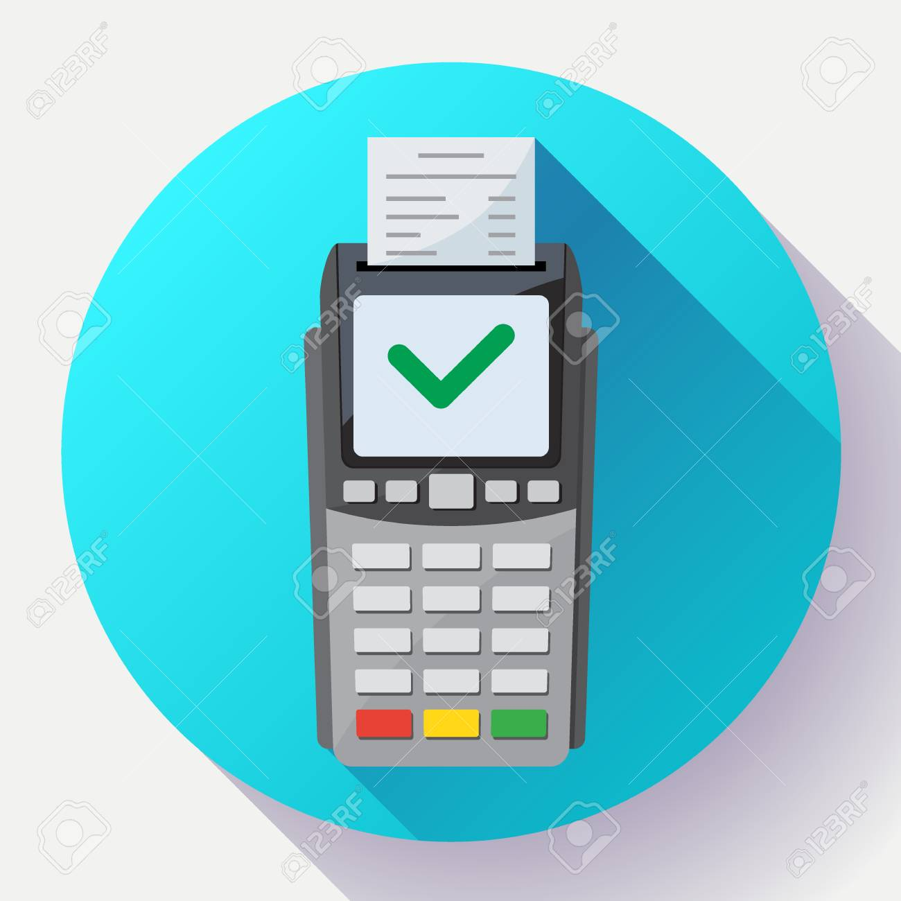 Payment machine and credit card terminal icon in flat style.