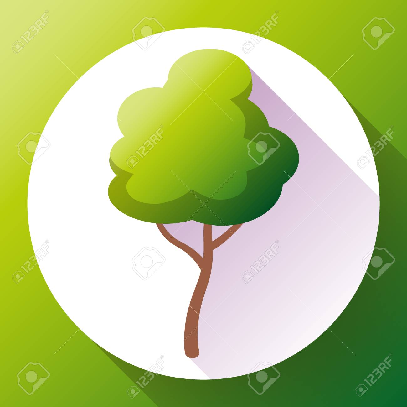 flat green tree icon vector save forest eco symbol royalty free