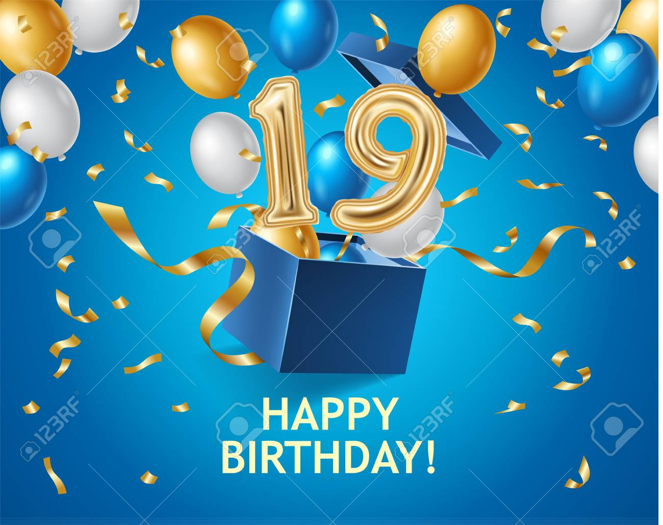 Happy Birthday banner with gift box, air balloons, gold ribbons - 111206997