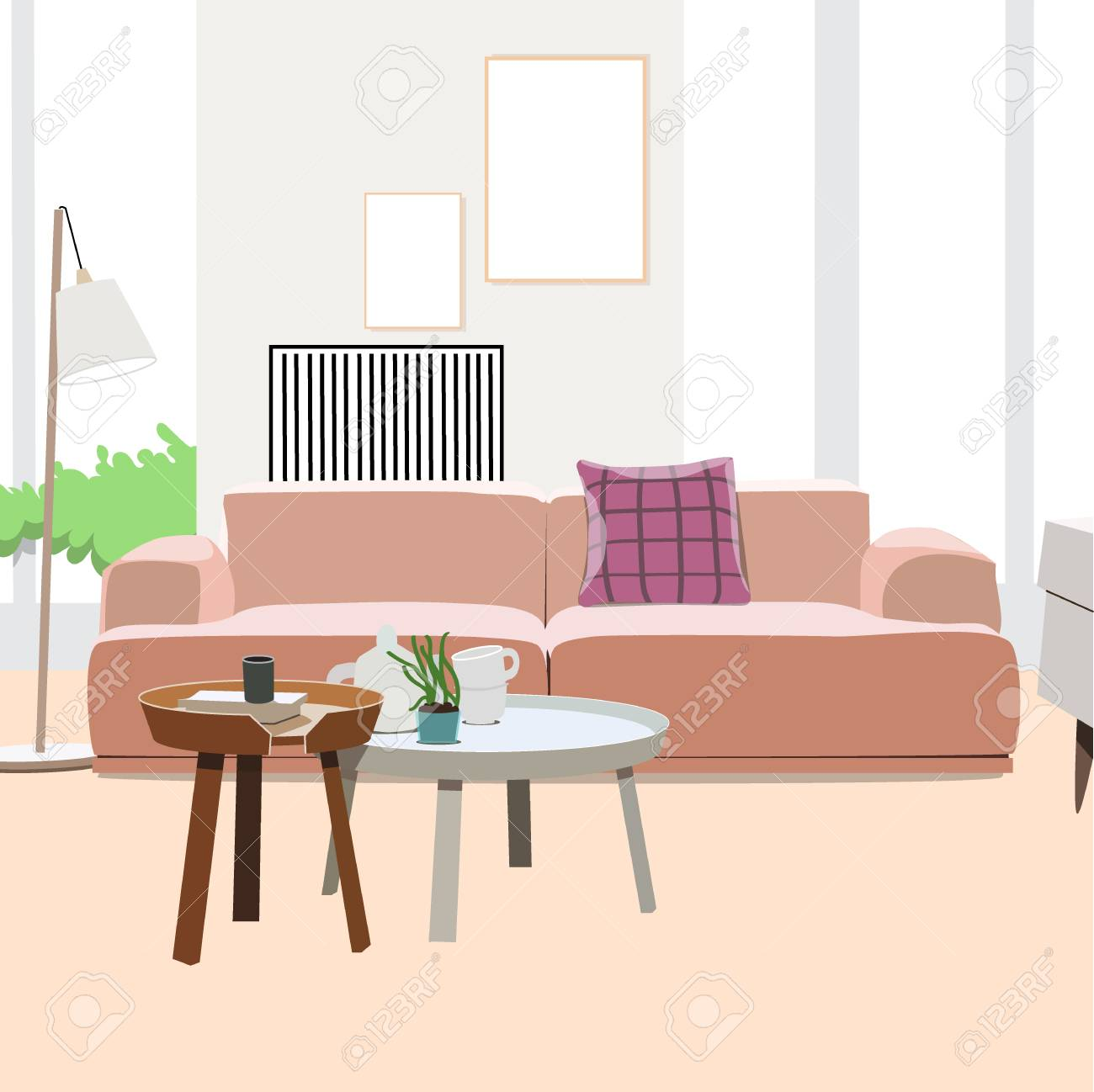 Awesome Living Room Interior Vector Illustration