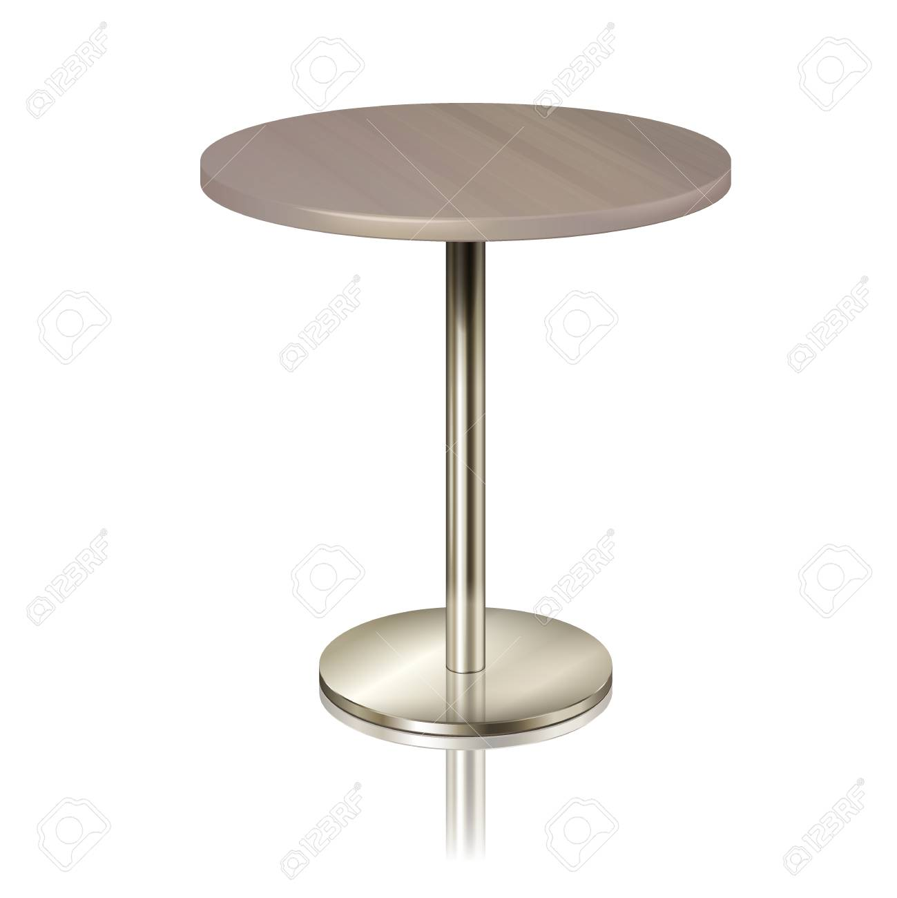 Round table on a chrome metal stand, without a tablecloth. Furniture for a restaurant, cafe, diner and exhibition isolated. furniture for public place interior, vector illustration - 127046542