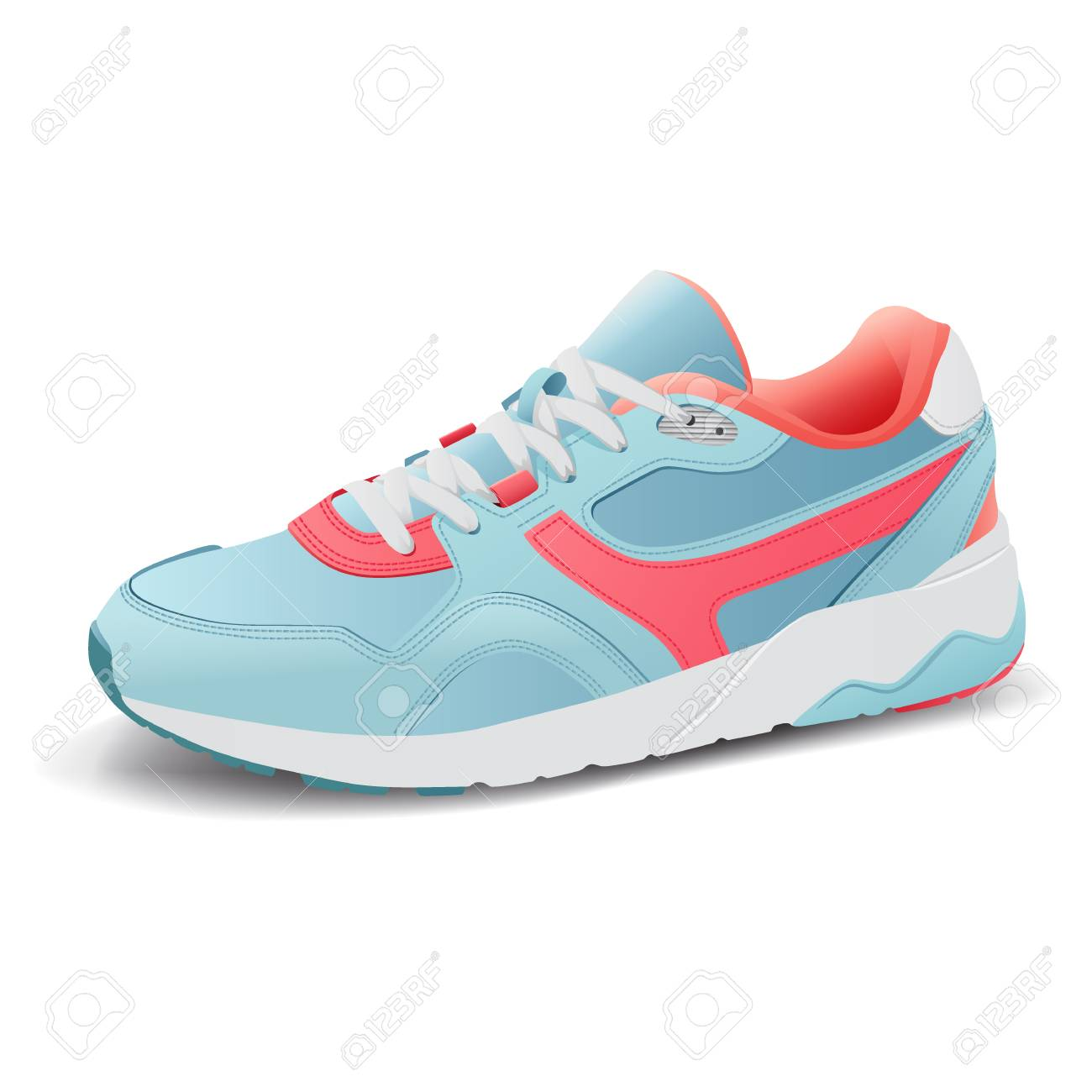 Realistic sport running shoe for training and fitness on white background, trendy sneakers, vector illustration - 126636899