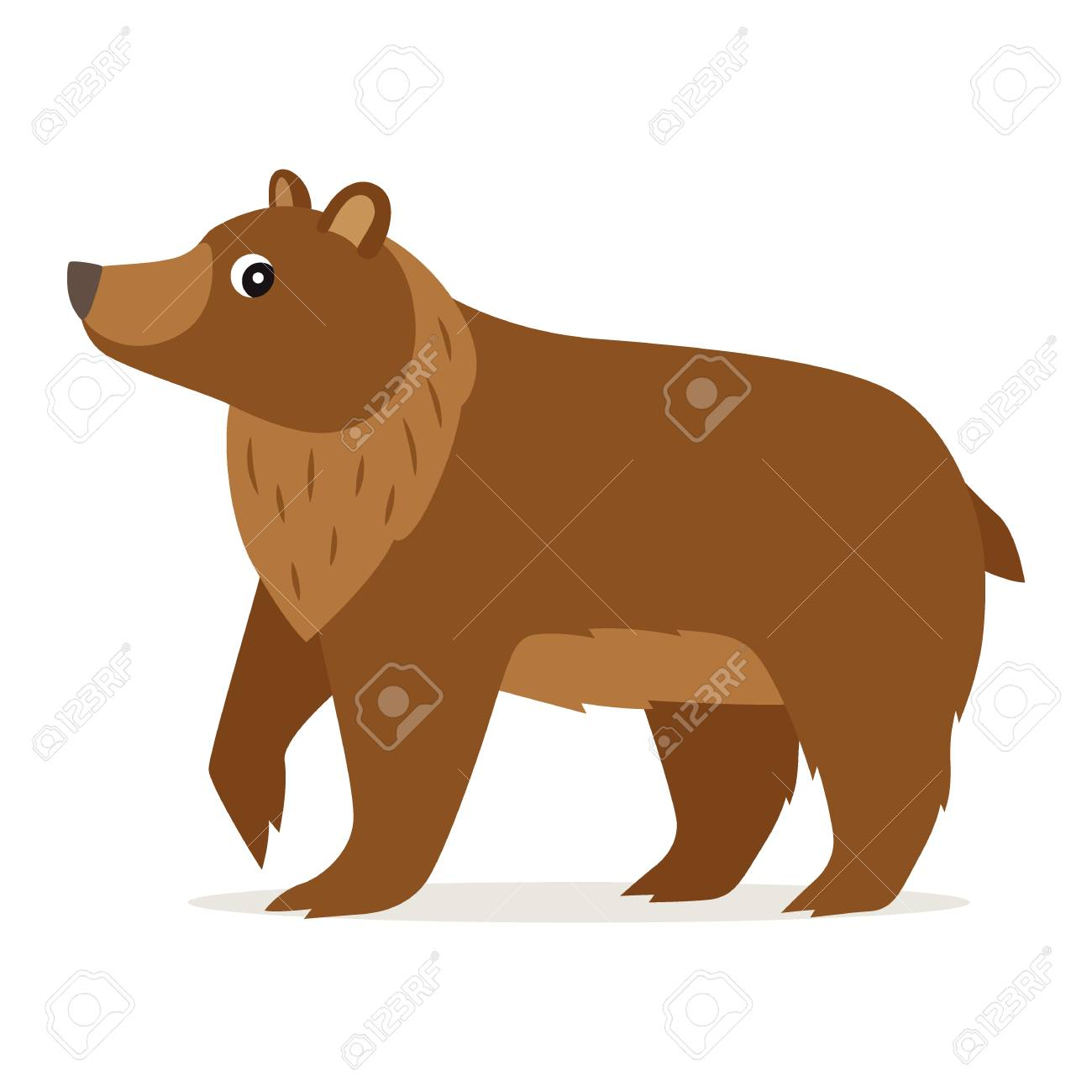 Icon of funny cute brown bear in profile isolated, forest, woodland animal, vector illustration for children book or decoration - 126629137
