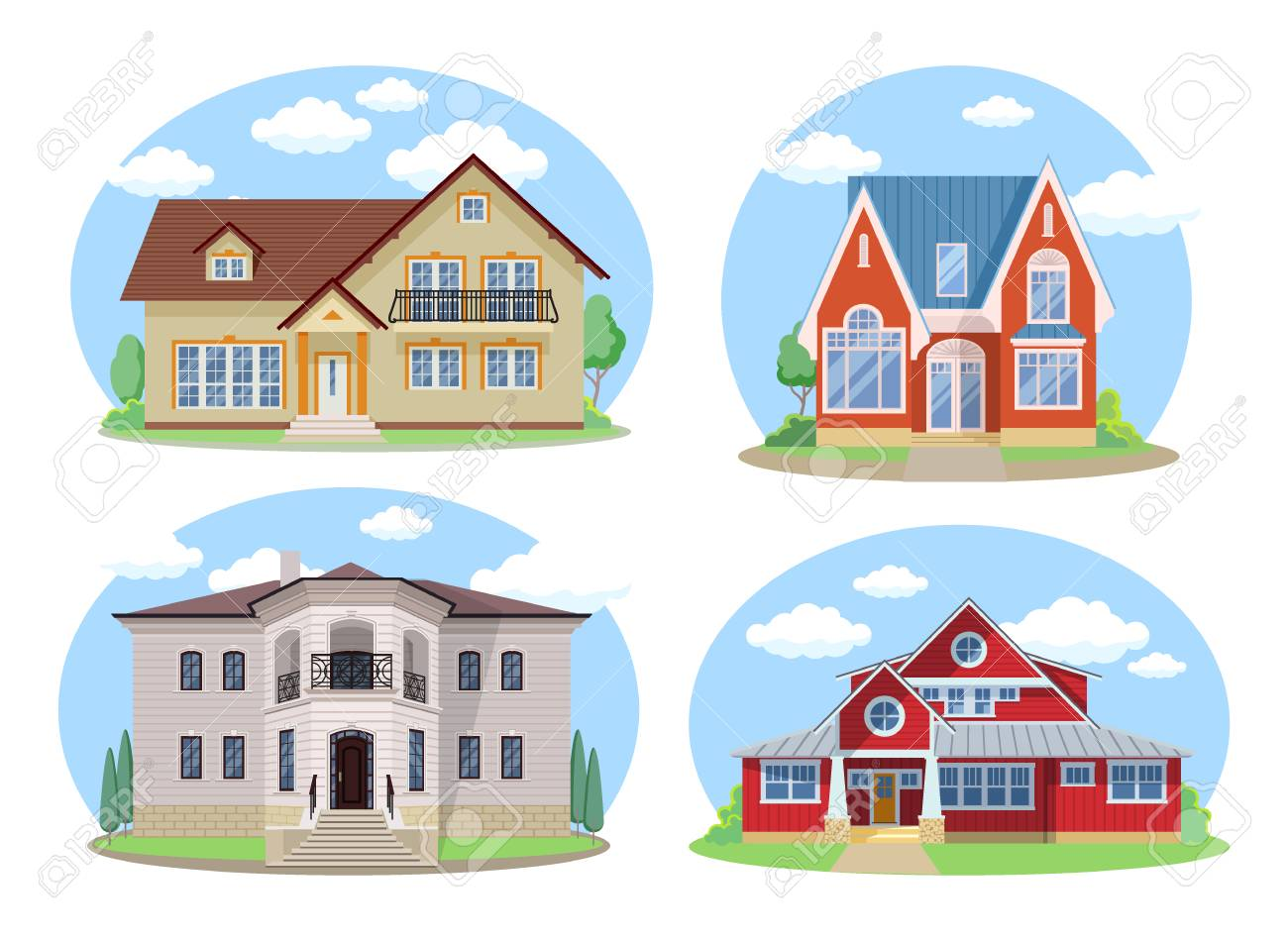 Vector Buildings Set Flat Design Houses Isolated On White Background
