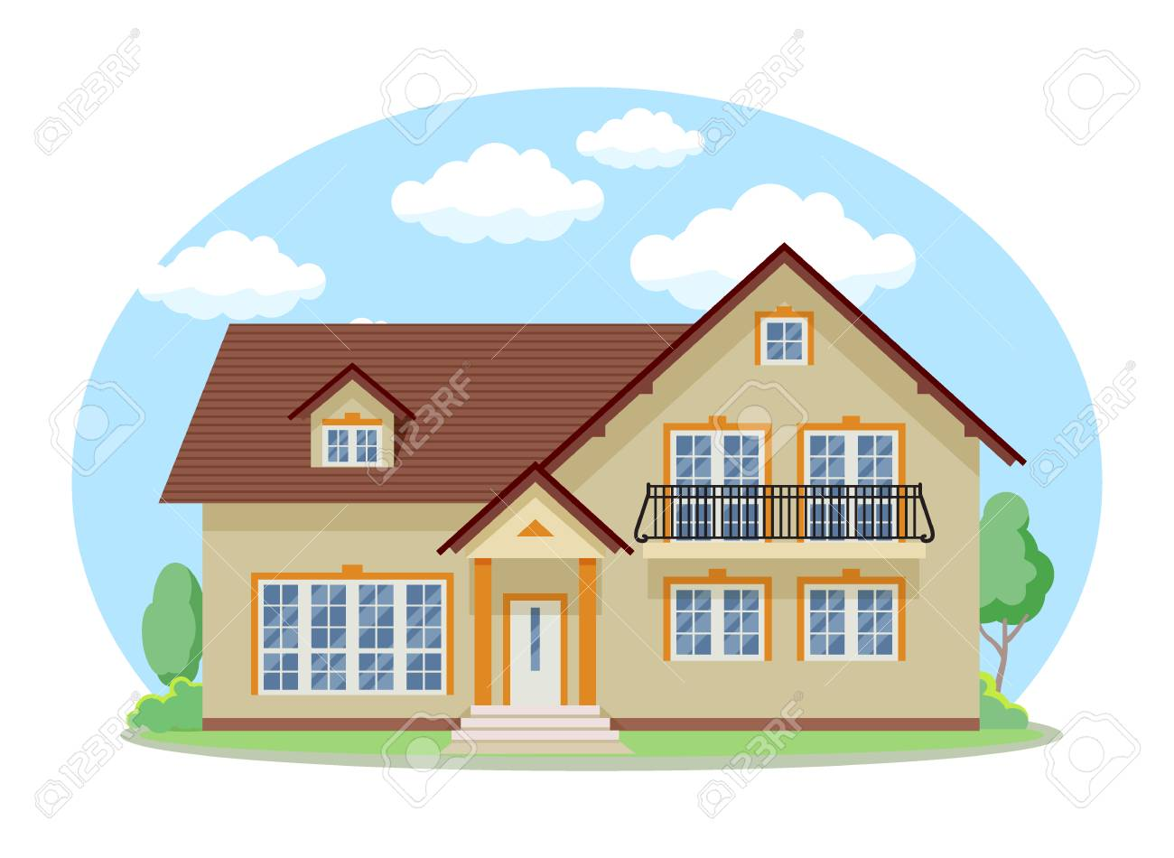 Cartoon House Exterior With Blue Clouded Sky Front Home Architecture Royalty Free Cliparts Vectors And Stock Illustration Image 114702193