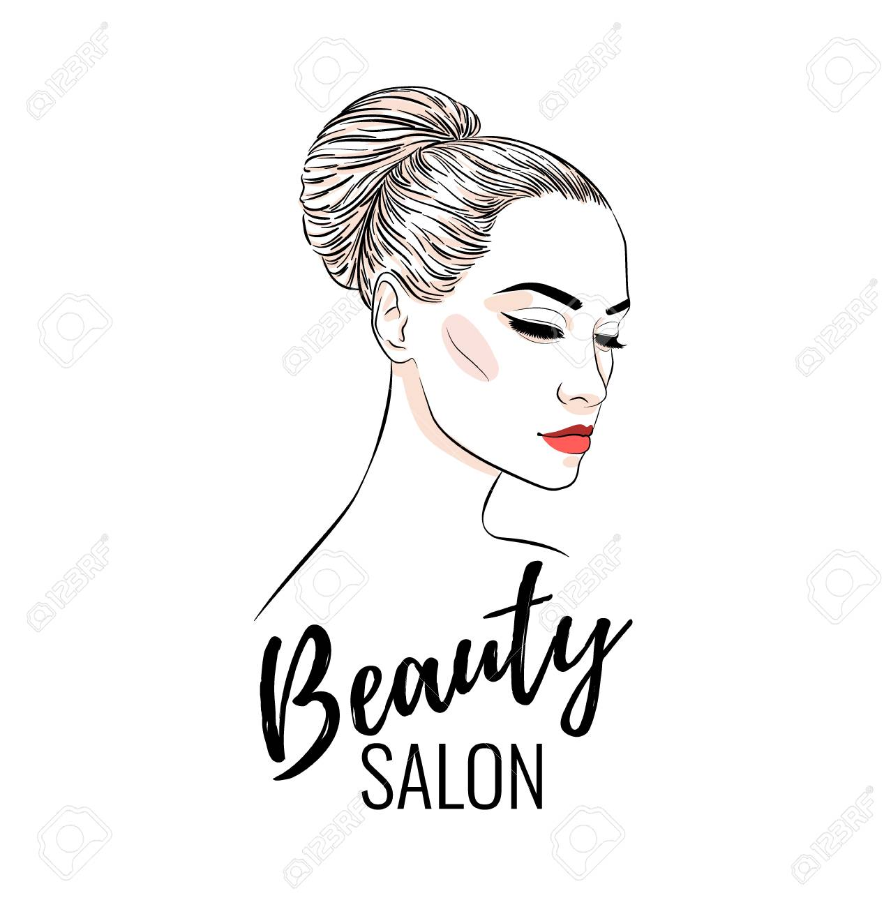 Beautiful Woman With Bun Hairstyle Beauty Salon Banner Or Poster Royalty Free Cliparts Vectors And Stock Illustration Image 115524114