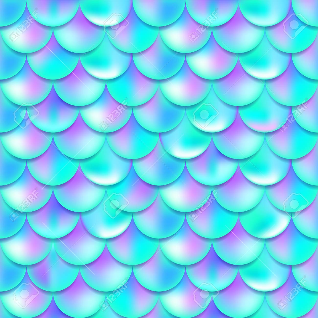 Pearl purple and blue mermaid scales seamless pattern, print, texture, beautiful background with gradient, magic creature, fish skin, vector illustration - 125229838