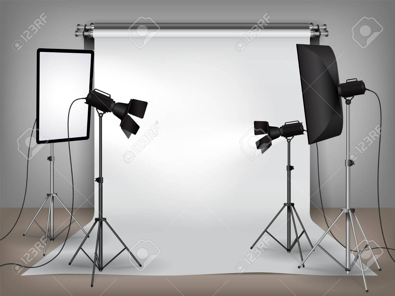 Realistic photo studio with lighting, softboxes on tripod stands and spotlights equipment and white backdrop, photo background mock up vector illustration - 123079252