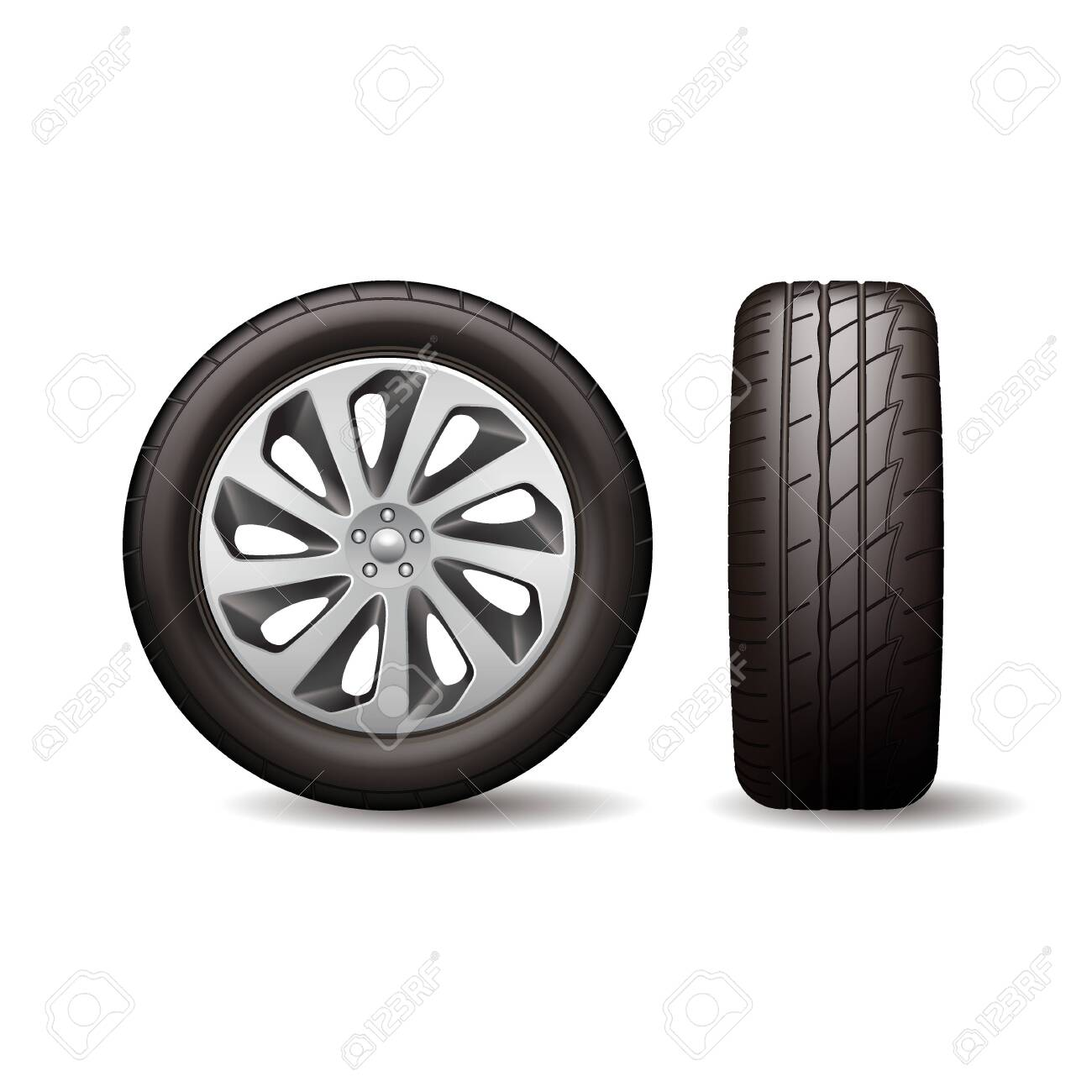 Realistic shining disk car wheel tyre isolated on white background vector illustration - 152331705