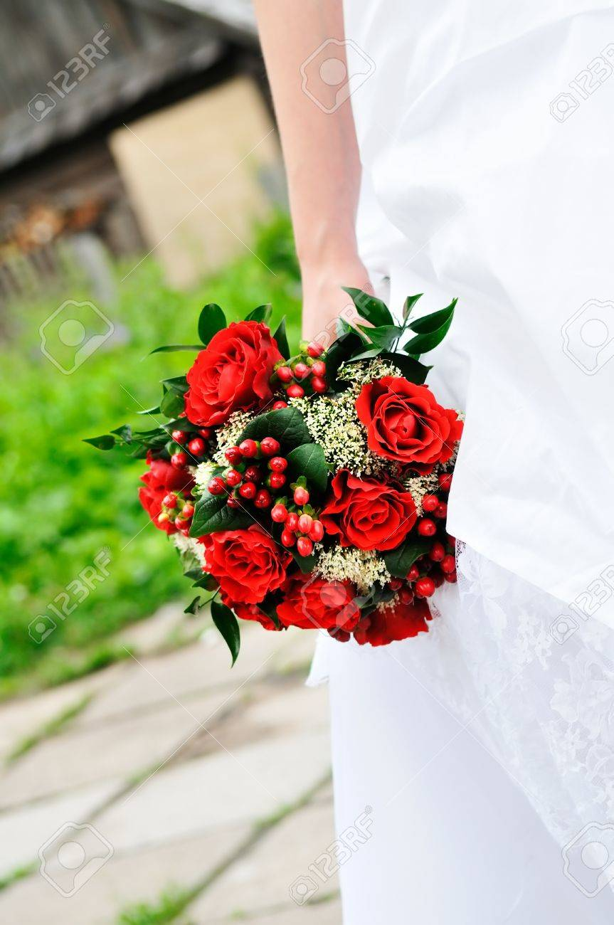 Bride Holding Beautiful Red Wedding Flowers Bouquet Stock Photo Picture And Royalty Free Image Image 10255567