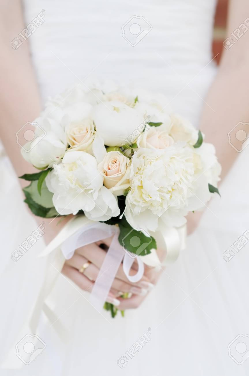 Bride Holding Wedding Flowers Bouquet Stock Photo Picture And
