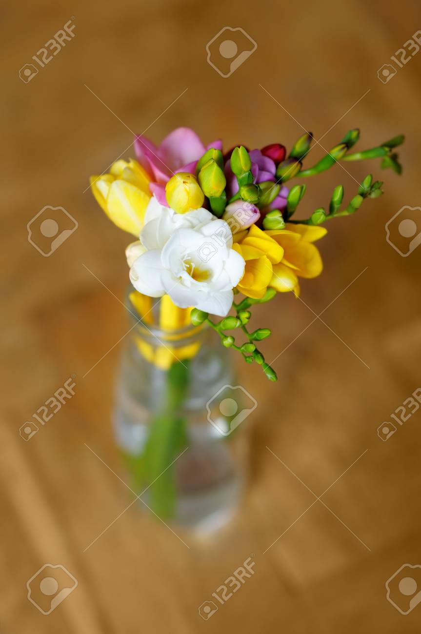 Little Flowers Bouquet In Glass Vase Stock Photo, Picture And ...