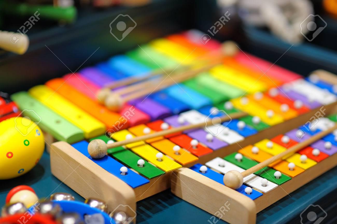 Few bright xylophones, closeup photo - 35565134