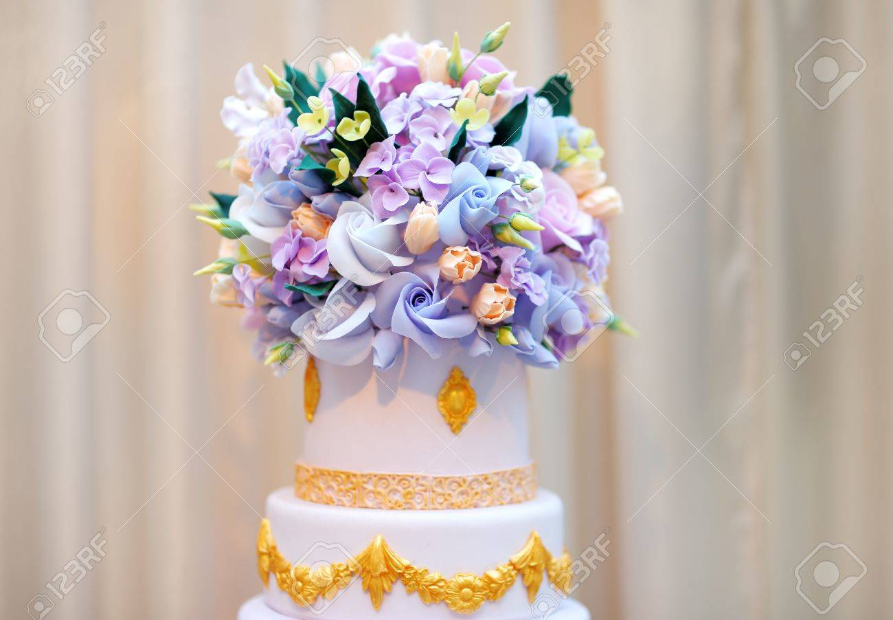 Delicious Luxury White Wedding Or Birthday Cake Decorated With