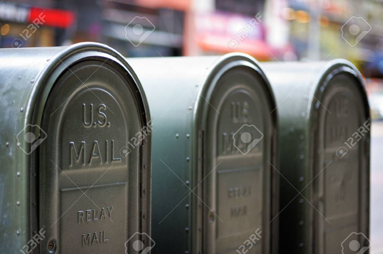 Row of outdoors mailboxes in NY, USA - 41062449