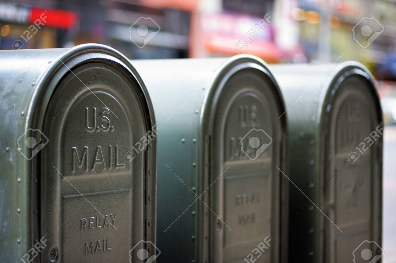 Row of outdoors mailboxes in NY, USA - 41102839
