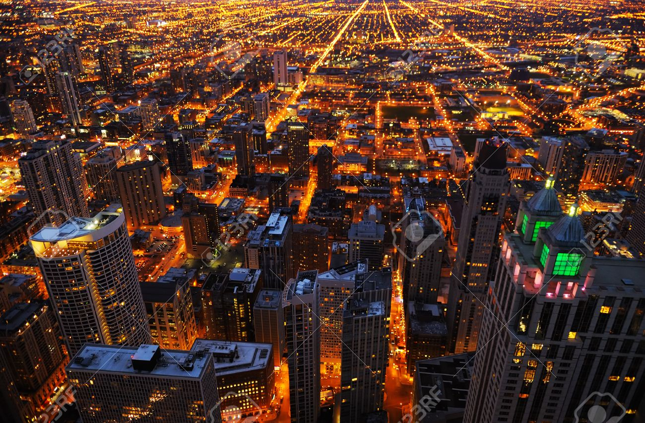 Aerial view of big city at night, Chicago, USA - 42772575