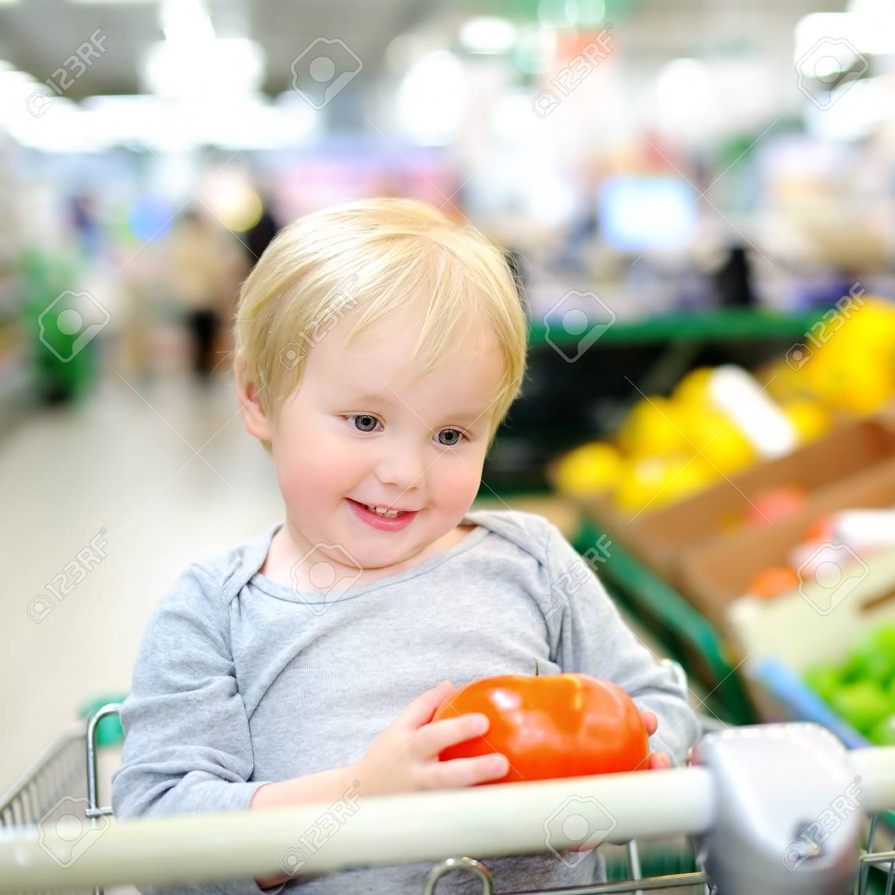 b38e6985f Cute toddler boy sitting in the shopping cart in a food store..