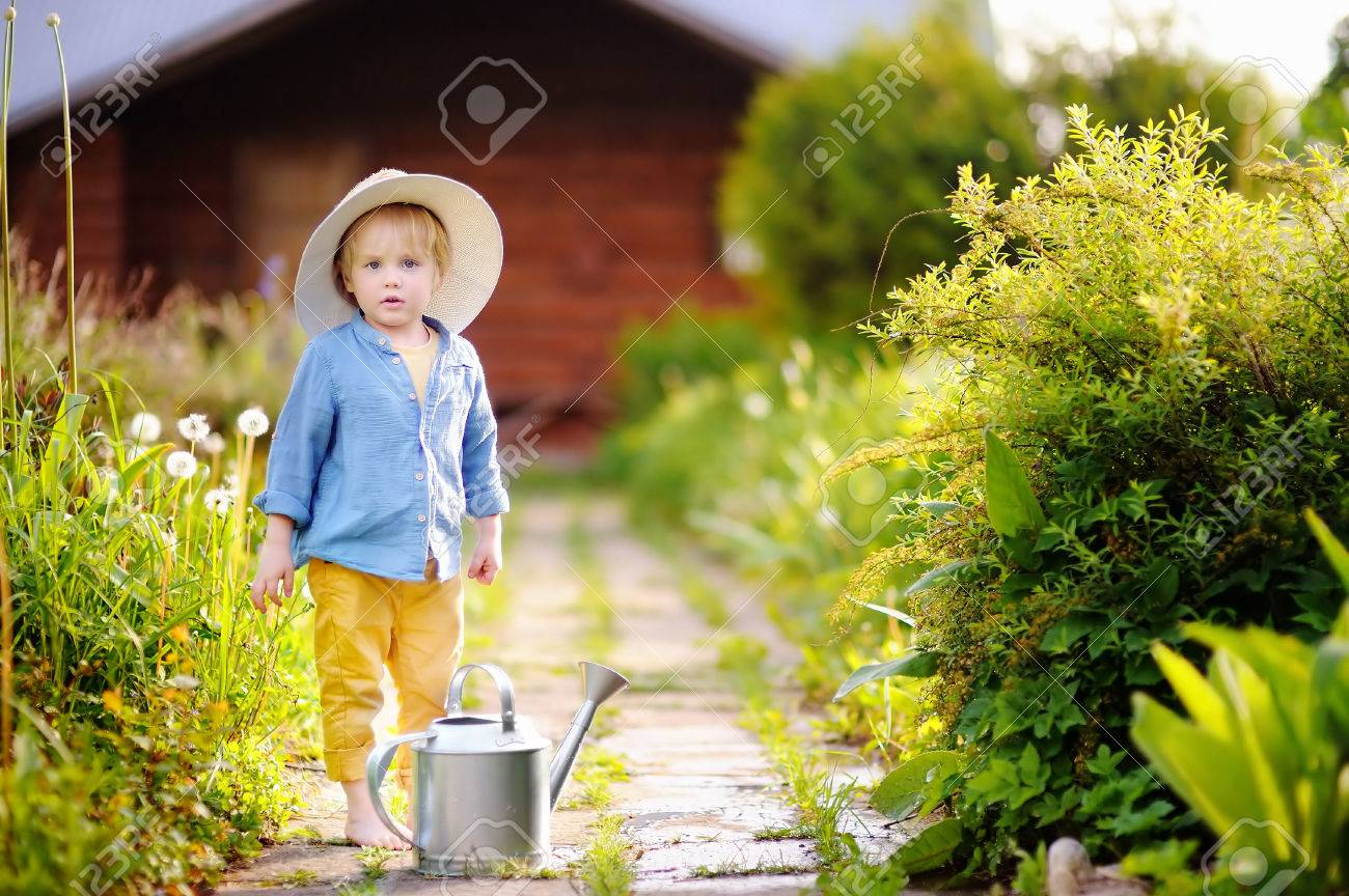 Cute little boy in straw hat watering plants in the garden at summer sunny  day Stock 44502c538de9