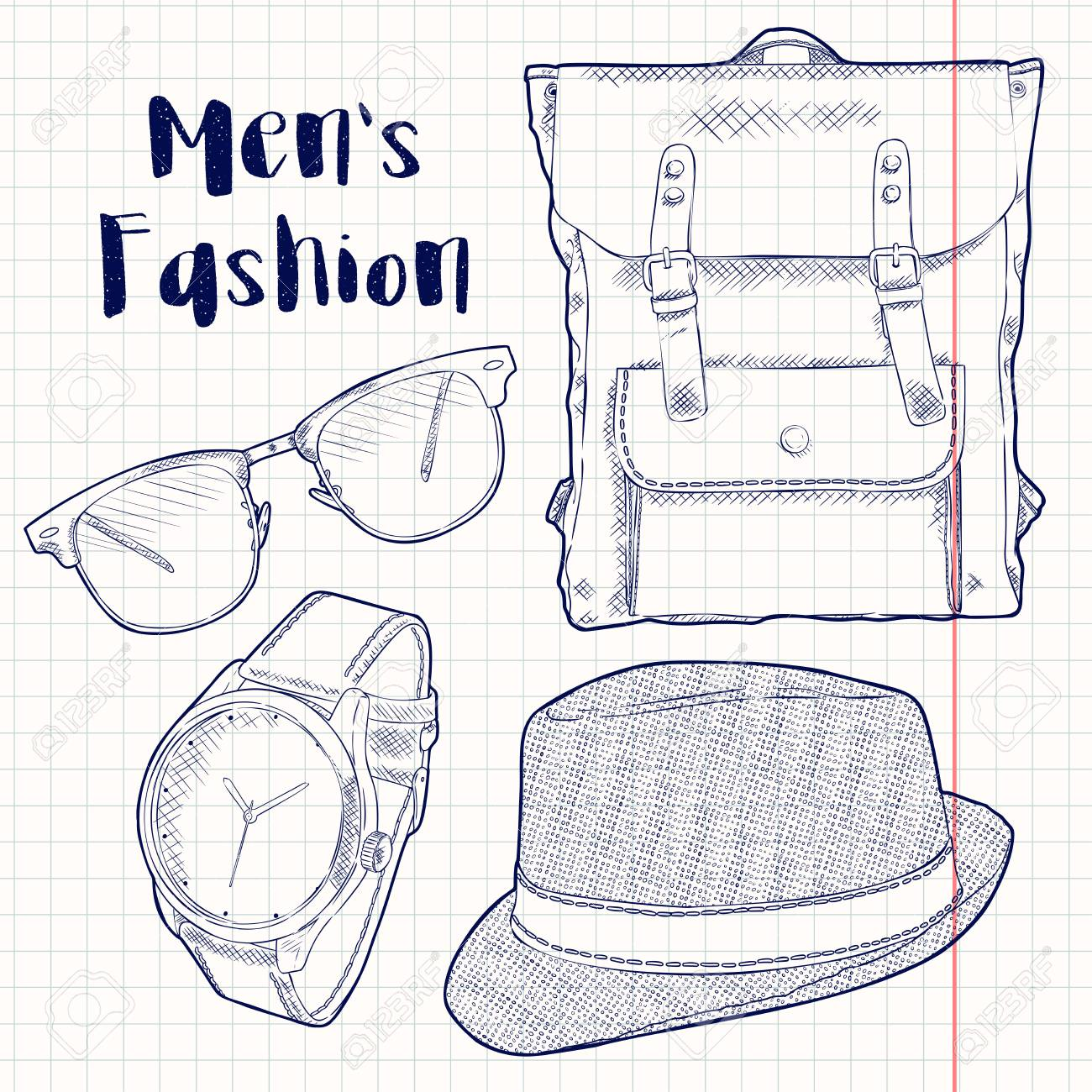 973e59df93b Vector Male Accessories Illustration Stock Vector - 86093683