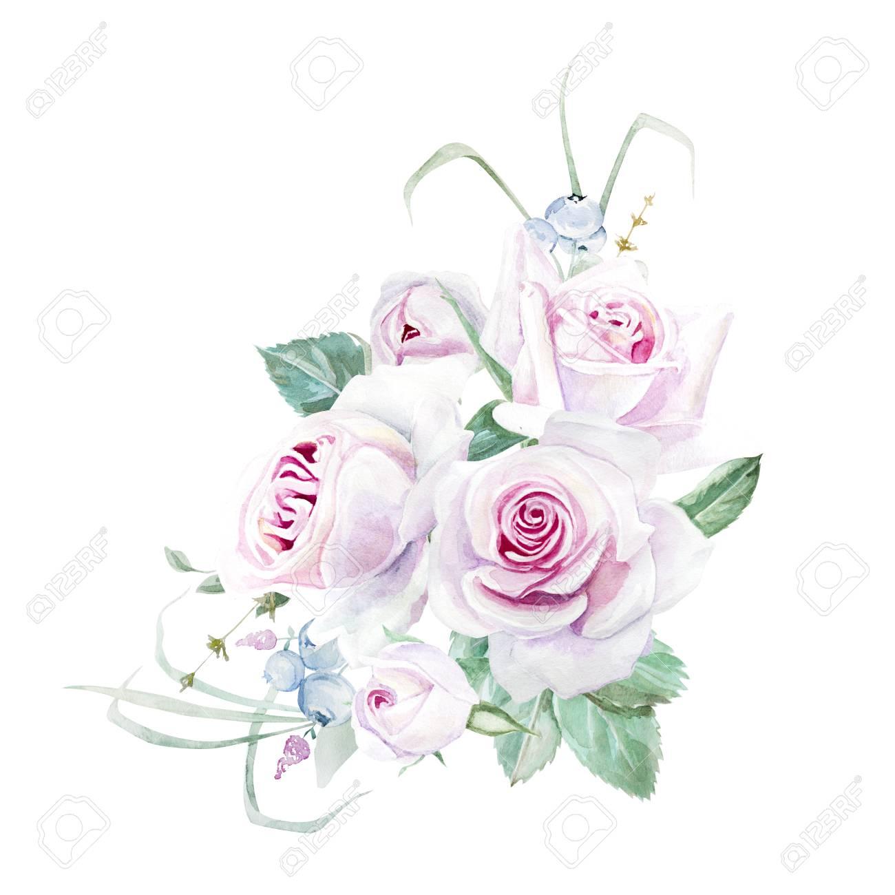 水彩のピンクのバラ花束イラスト の写真素材画像素材 Image 86327841