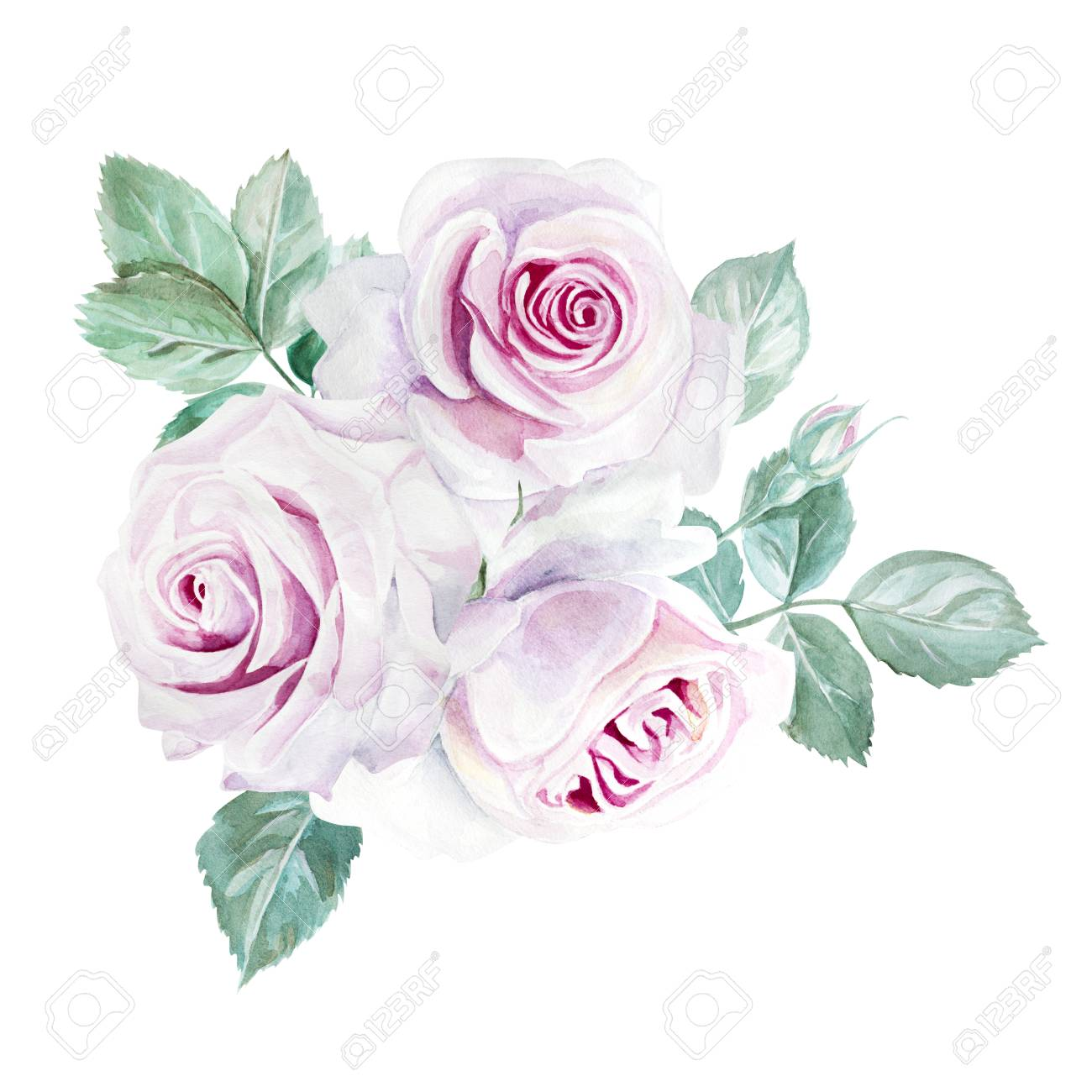 水彩のピンクのバラ花束イラスト の写真素材画像素材 Image 86432066