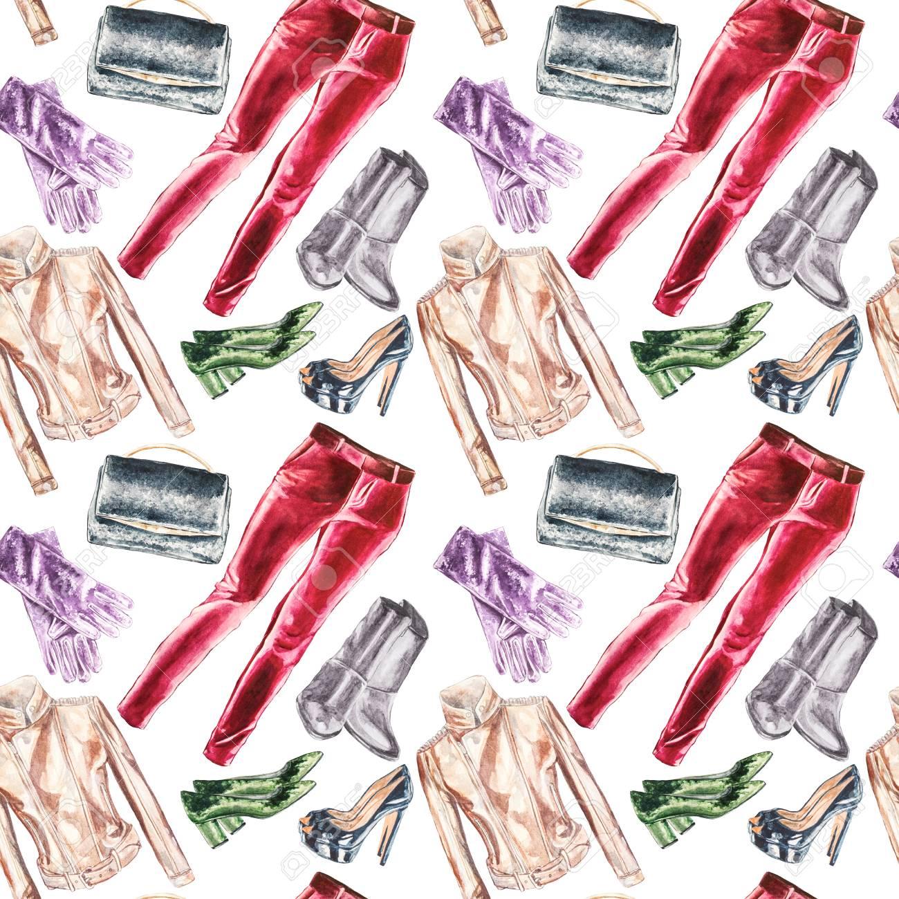 Seamless Watercolor Fashion Garments Pattern