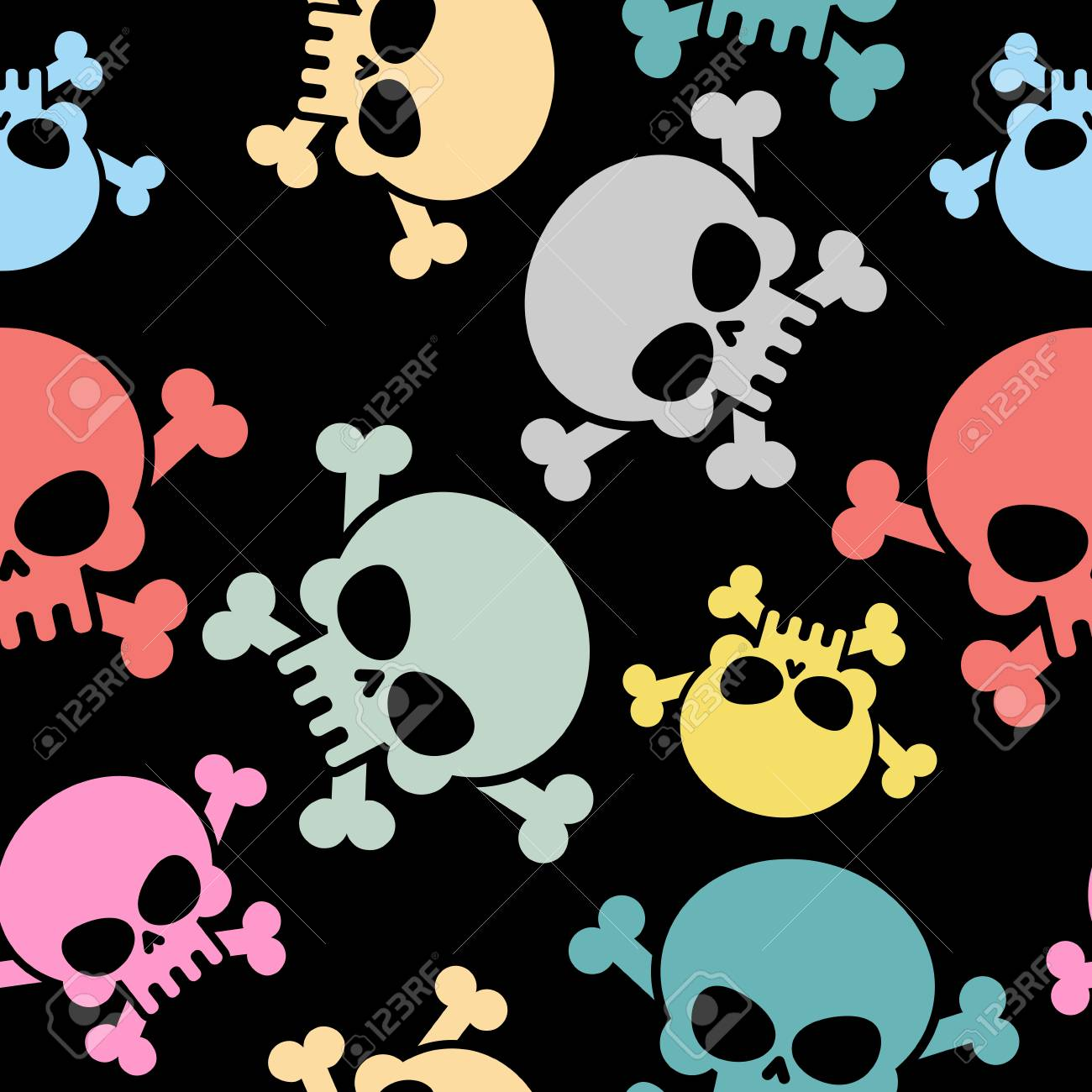 Cráneo Con Los Huesos Sin Patrón. Color Esqueleto Cráneo. Vector De ...