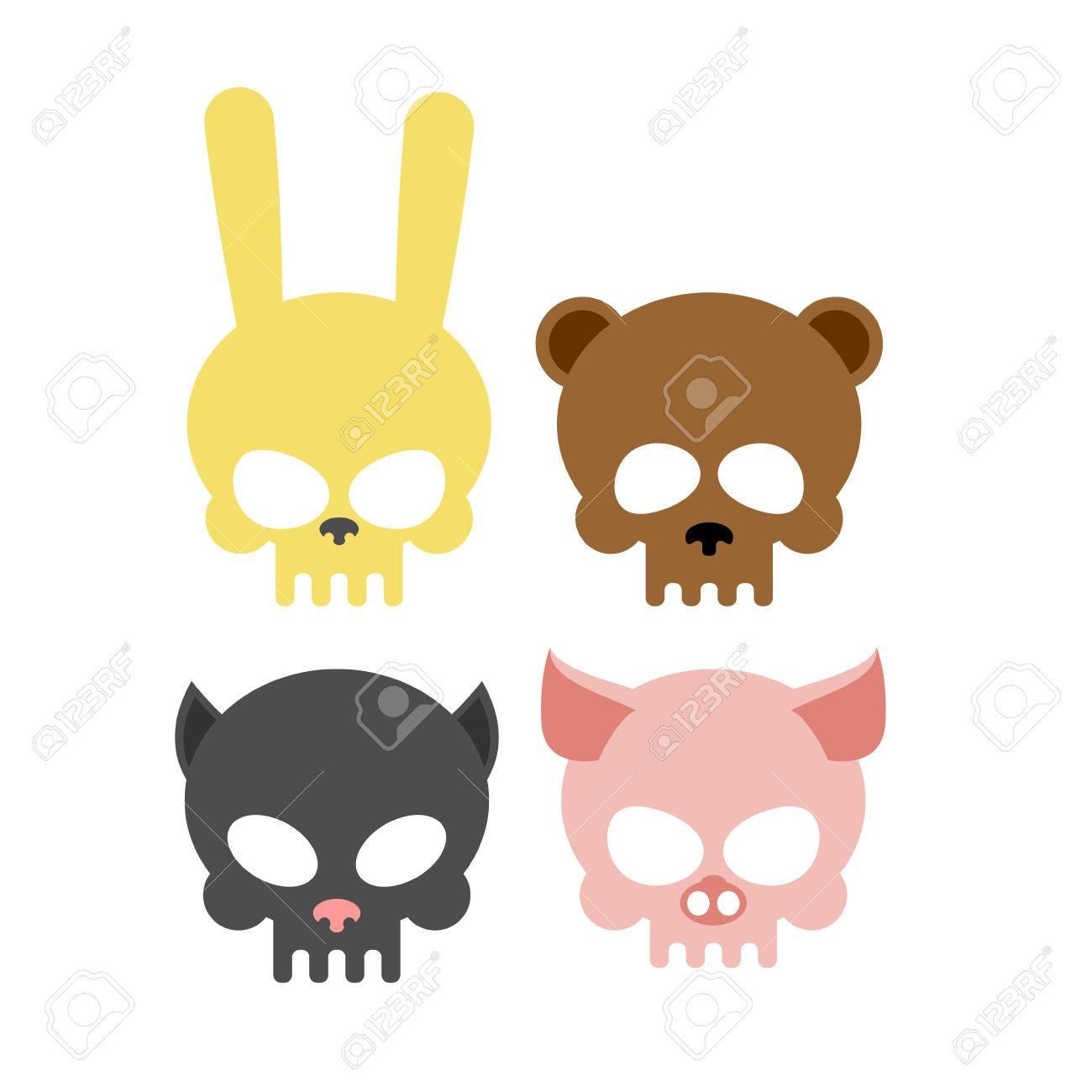 かわいい動物の頭骨。クマとブタ。頭スケルトン ウサギと猫