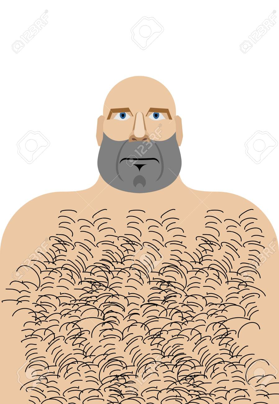 Man with bald head. Hillbilly with hairy chest. Vector illustration of  funny man Stock