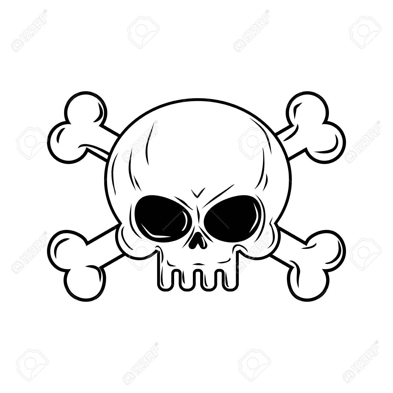 skull with bones pirates sign vector illustration head skeleton rh 123rf com free vector skull and bones skull and crossbones free vector art