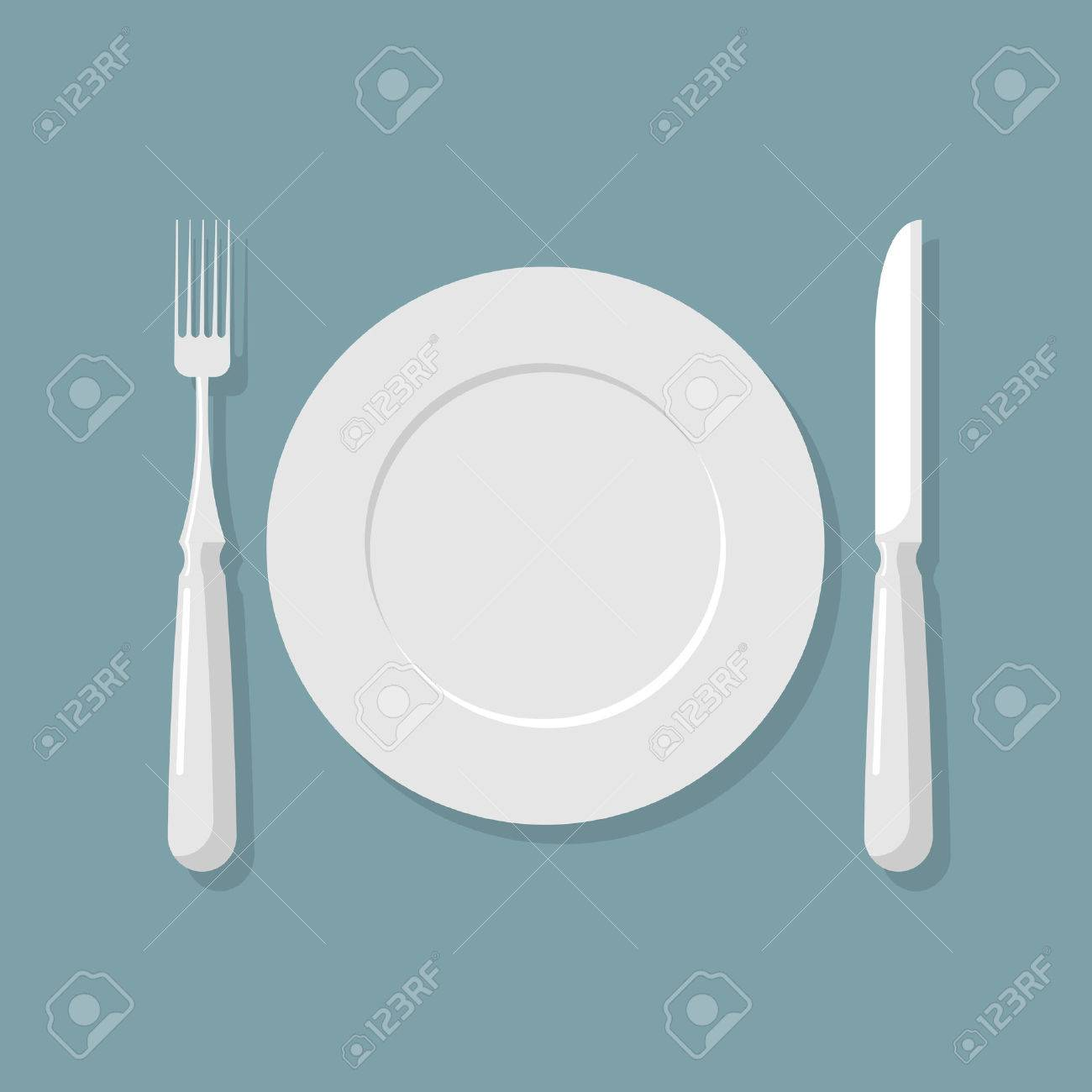 Empty White Plate Top View. Knife And Fork. Cutlery. Vector ...