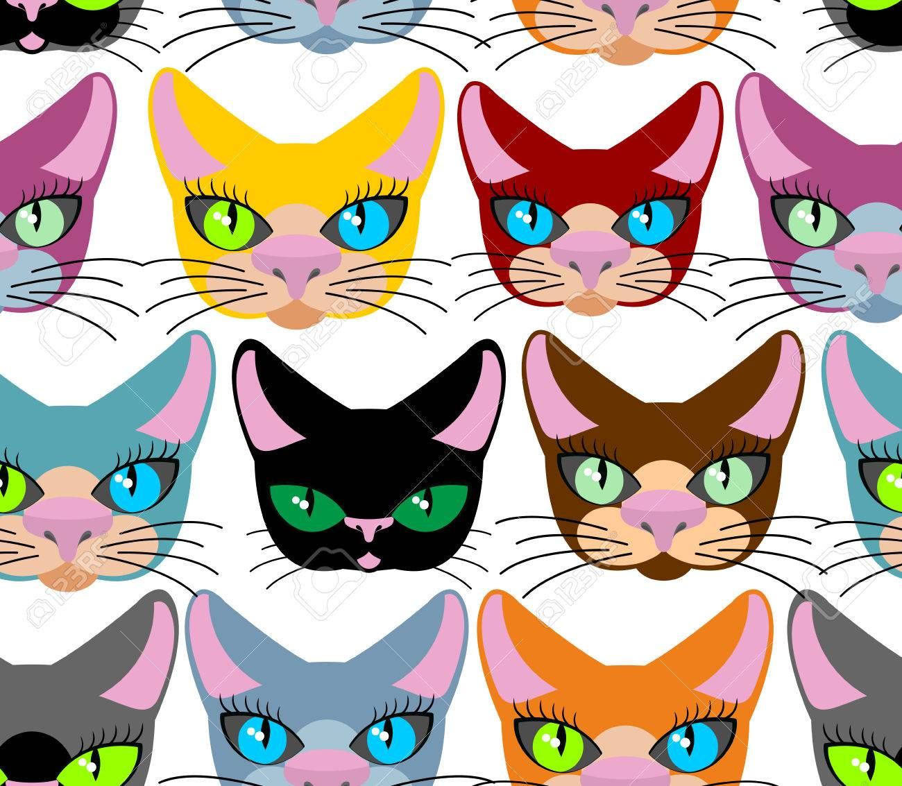 Favori I Gatti Seamless. Molti Animali Diversi. Vettoriale Di Animali  NW54